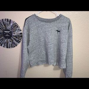 PINK LIGHT GREY CROPPED SWEATER WITH MESH ON BACK